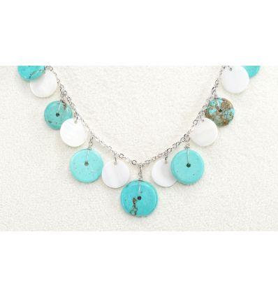 Set collier + boucles d'oreilles coquillages nacrés ronds et terre cuite verte rond