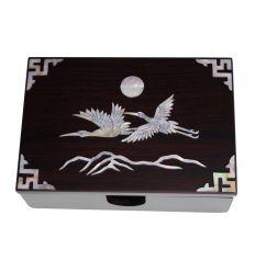 Boite en bois pour cartes de visite nacré design couple de hérons et soleil