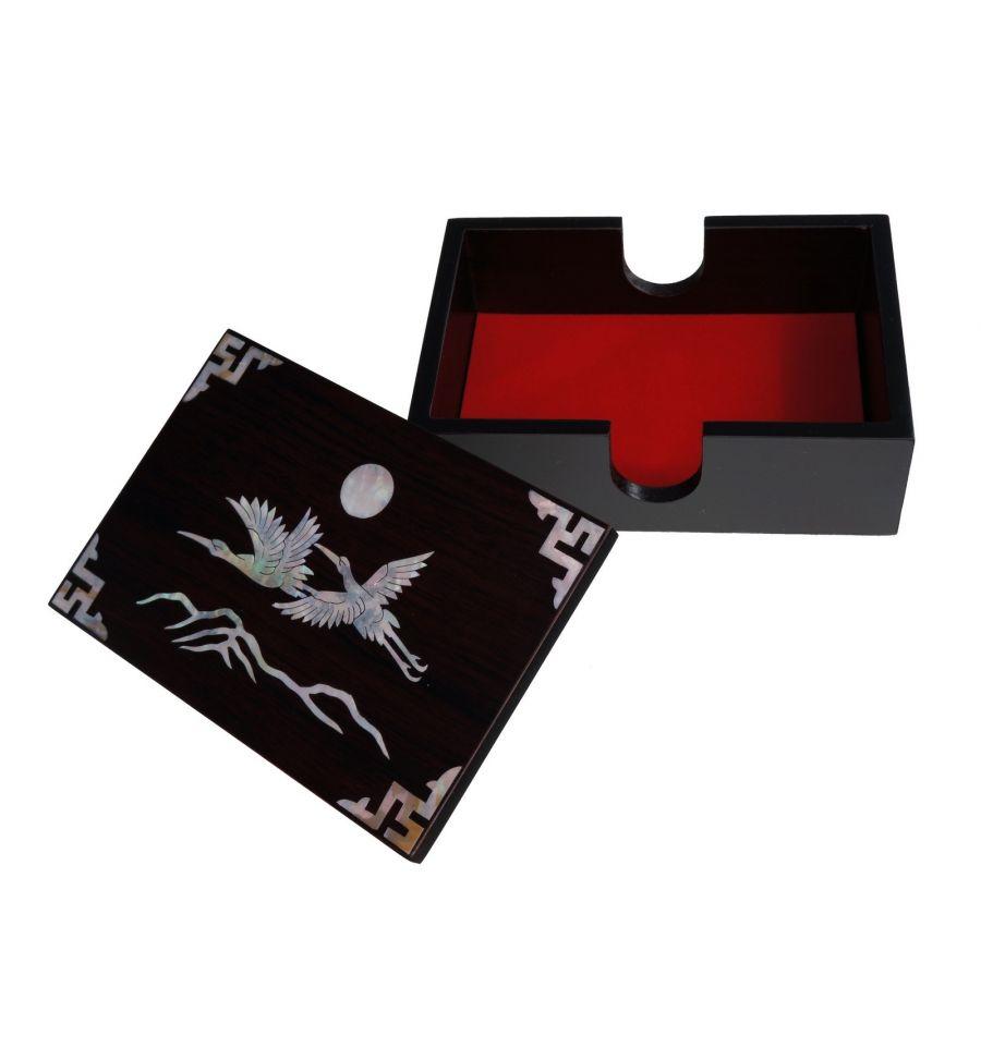 Boite De Rangement Pour Cartes Visite Design Couple Herons Et Soleil