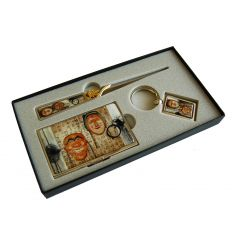 """Set porte-cartes de visite, ouvre-lettres et porte-clefs désign masques de Hahoe """"Hahoetal"""""""