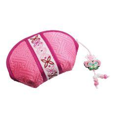 Petite trousse à maquillage en tissus rose et banderolle
