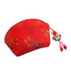 Porte-monnaie rouge en tissu Brocart avec une fermeture zippe