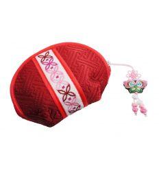 Porte-monnaie rouge avec de belle décoration, tissu de qualité.