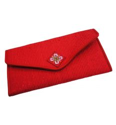 Portefeuille femme Rouge en Tissu Brocart