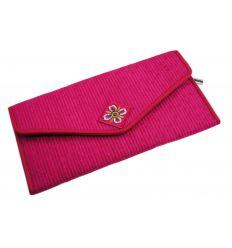 Portefeuille femme en tissu fuchsia