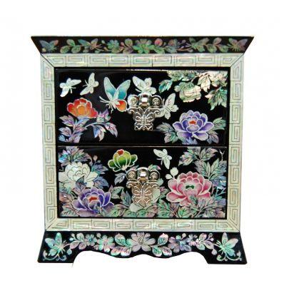 Boite à bijoux deux tiroirs pivoine et papillons