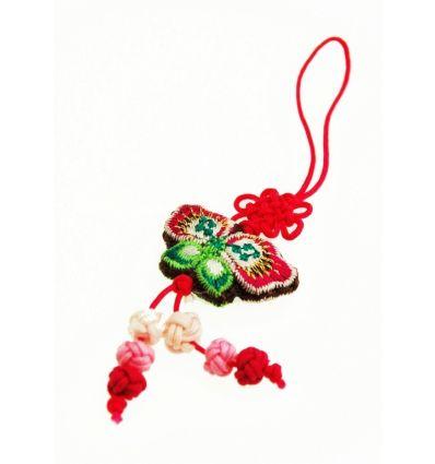 Pendentif pour téléphone portable - papillon en tissu rouge
