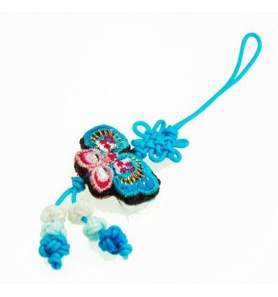 Décoration pour téléphone portable, un pendentif en tissu de couleur bleu