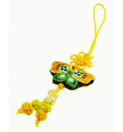 Pendentifs pour téléphone papillon en tissu jaune