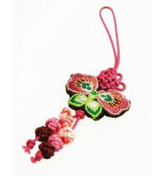 Pendentifs pour téléphone papillon en tissu rose
