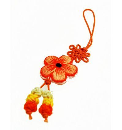 Pendentif bijoux pour téléphone portable - fleur en tissu orange