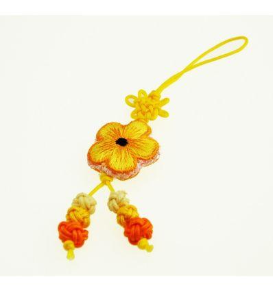 Pendentifs pour téléphone fleur en tissu jaune