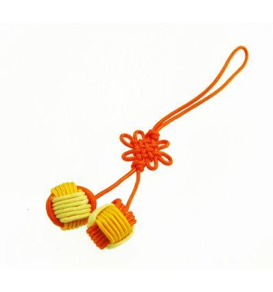 Pendentifs pour téléphone boules en tissu jaune