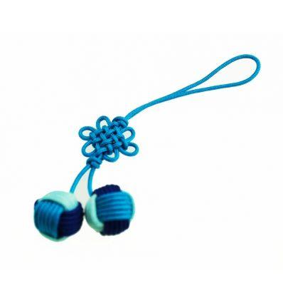 Pendentifs pour téléphone boules en tissu bleu