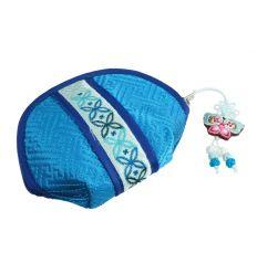 Petit porte-monnaie en tissus bleu et banderolle