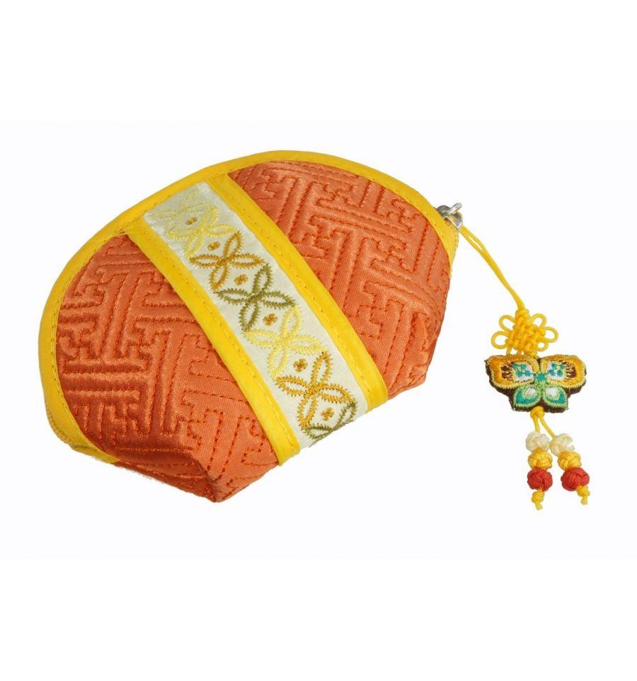 Porte monnaie orange accessoire original demi lune - Porte monnaie en tissu ...