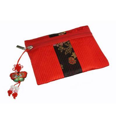 Petit porte-monnaie de forme carré en tissu de couleur rouge