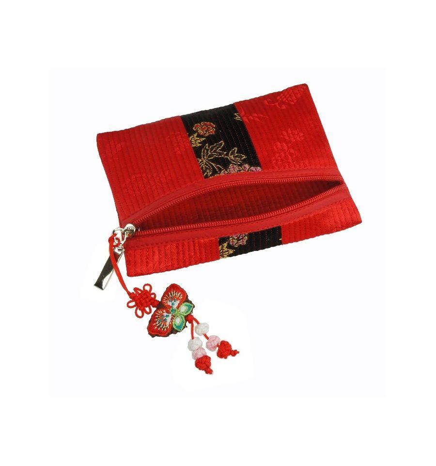 Portemonnaie Rouge Artisanat Tissu Brocart Authentique - Petit porte monnaie femme