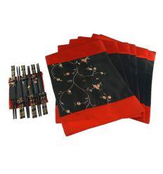 Set baguettes en bois Coréennes rouge et noir