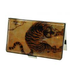 Beau boitier à cartes de visite avec une illustration d'un tigre