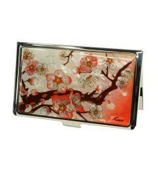 Cerisier en fleur sur fond rouge - Boitier à cartes de visite