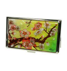 Cerisier en fleur sur fond jaune et vert -Porte-cartes de visite