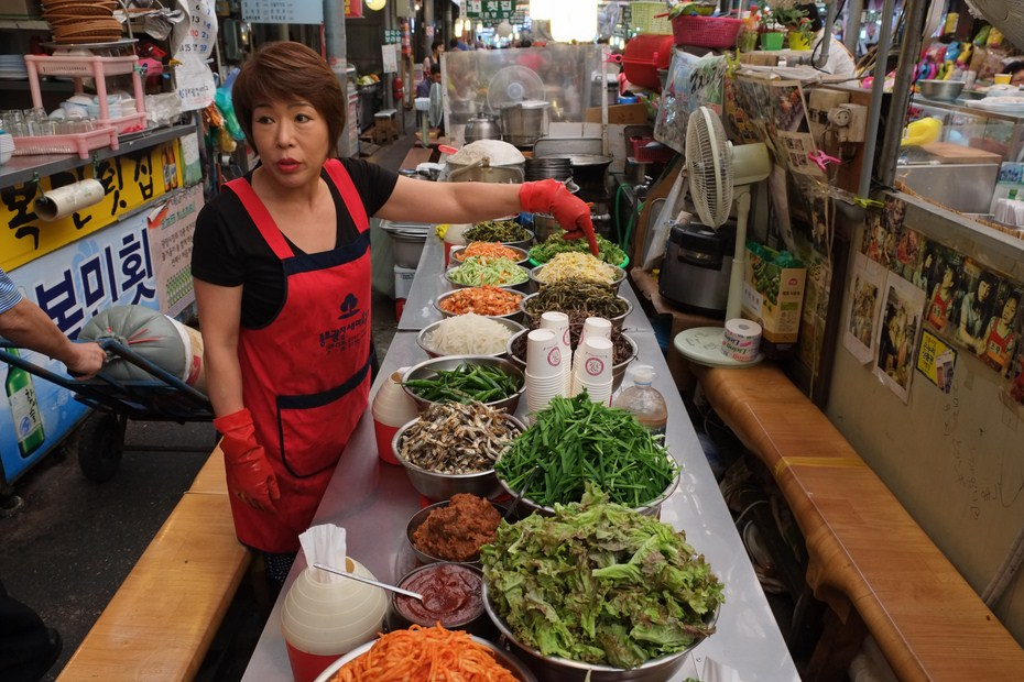 Le marché de Gwangjang, bimbimbap, boribap